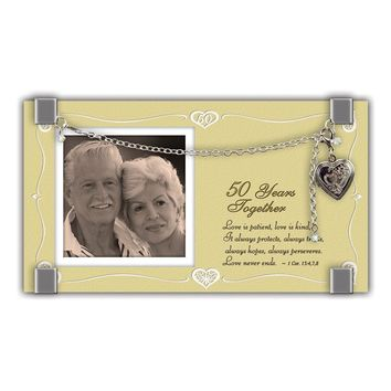Silver-tone Bracelet Locket 50 Years Together Glass 2in. Photo Frame Anniversary