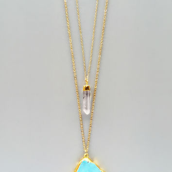 Layered Crystal Quartz & Turquoise Necklace - Genuine Stones
