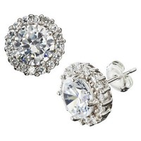 Target : Silver Plated Cubic Zirconia Surround Round Stud Earrings : Image Zoom