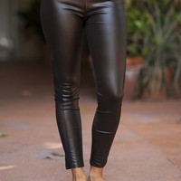 Plain Black Pleather Leggings