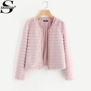 Sheinside Pink Pear Beading Textured Faux Fur Coat Winter Collarless Cute Outer With Lining Women's Elegant Coat