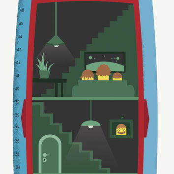 Rocket kids room decoration: Growth Chart for boys who love space & spaceships! Boys Wall Decor is a perfect Vinyl sticker for toddlers room