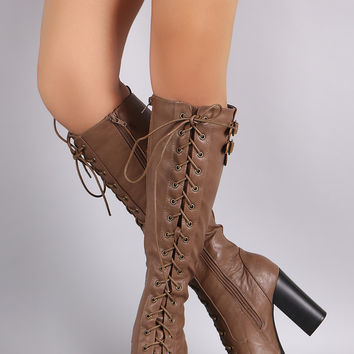 Wild Diva Lounge Lace Up Combat Heeled Platform Knee High Boot
