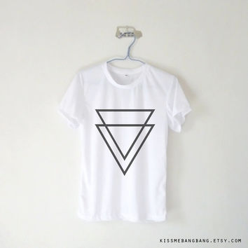 Double Triangle Inverted Unisex Tshirt / White Grey Blue Pink Yellow / Tumblr Inspired / Plus Size / Toddler, Kid Size