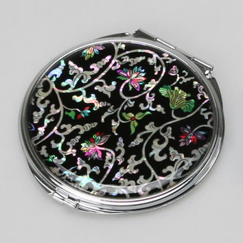 Mother of Pearl Flower Leaf Magnifying Slim Metal Double Compact Cosmetic Makeup Folding Handbag Purse Beauty Pocket Hand Mirror