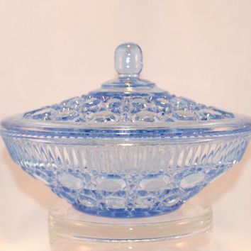 Bowl, Dish, Vintage Indiana Glass Windsor Ice Blue Covered Bowl, Candy Dish, Royal Brighton, Pattern Button and Cane