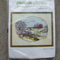 Rustic Vintage 1984 Paragon Stitchery Yesteryear Needlecraft Kit 0318 Carol Don Henning / Vintage Arts & Crafts / Rustic Decor / Gifts