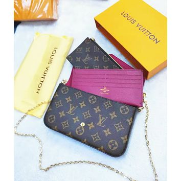 LV Louis Vuitton Stylish Women Leather Tote Shoulder Bag Handbag Satchel Three-Piece Set