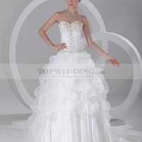 Sweetheart Satin and Organza Rhinestoned Ball Gown with Pick Up Skirt