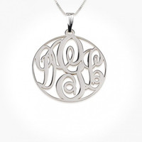 Sterling Silver XX-Large (XXL) Circle Monogram Necklace