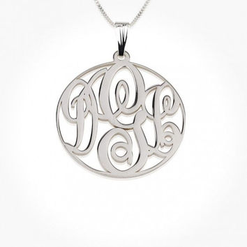 Sterling Silver Custom Extra Small Circle Monogram Necklace
