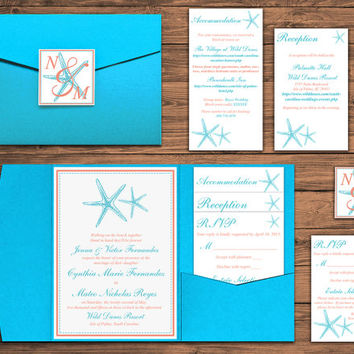 "DEPOSIT: Beach Wedding Pocketfold Invitation Suite - Starfish Wedding Invitation - Turquoise Coral ""Styish Starfish"" Beach Invitation Set"