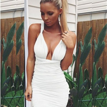 Plunging Sleeveless Backless Cross Knot Bodycon Mini Dress