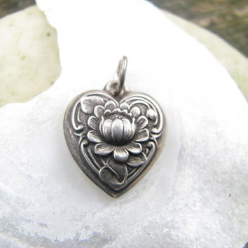 Lovely Vintage to Antique Sterling Silver Puffy Heart Charm Pendant - Unusual Lotus Flower Design - Excellent Condition