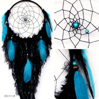 The Raven Messenger of Magic Large Native Style Woven Dreamcatcher