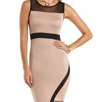 Bodycon Tank Dress with Mesh Yoke by Charlotte Russe - Taupe Combo