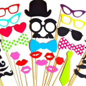 Cool Stuff - Photo Booth Props - Set of 32 - Great for Parties and Weddings