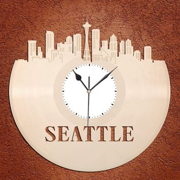 Seattle Skyline - Wall Art Clock,  Wall Clock, Cityscape Clock, Vinyl Record Clock,  Unique Wall Clock,  Large Wall Clock, Vinyl Clock