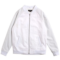 Hustler Bomber Jacket White / Perforated Leather