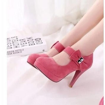Big size 32-42 Women Sweet Pumps Bow Tie Mary Jane Shoes Woman High Heels women shoes Platform Pumps Sapatos Femininos
