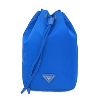 Prada Tessuto Blue Nylon Cosmetic Make-Up Drawstring Travel Bag 1N0369