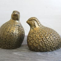 Pair of Vintage BRASS BIRDS ~ 1960s bird figurines ~ brass qualis ~ modern decor ~ brass paperweights ~ mid century brass birds
