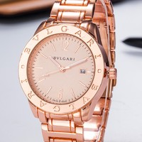 Hot Sale Bvlgari Women's Men Classic Stell Watches B-PS-XSDZBSH Rose gold