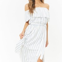 Striped M-Slit Off-the-Shoulder Maxi Dress
