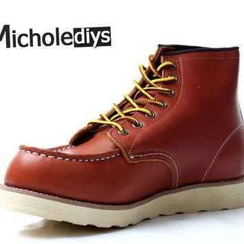 Micholediys Handmade Genuine Leather Brand Boots Platform Red Mens Platform Wing Sfe Tooling botas Work Shoes Botas