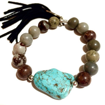 Fringed Leather Crazy Horse Jasper and Turquoise Bracelet-Stretch