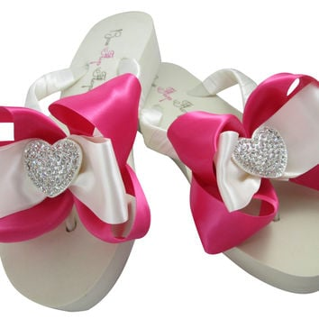Shocking Pink Satin Heart Flip Flops on Ivory or White Wedges with Bows