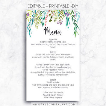 Wedding Menu, Printable Menu, Leaves, DIY Menu Template, Menu Card, Menu Printable, Wedding, Custom Menu, DIY Wedding, Wedding Reception,PDF