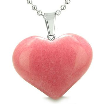 Amulet Large Puffy Heart Lucky Charm in Candy Pink Jade Gemstone Good Luck Powers Pendant Necklace