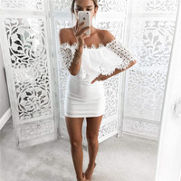 White Fold Over Lace Off Shoulder Mini Dress