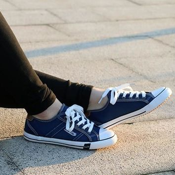 Navy Blue Round Toe Flat Lace-up Casual Canvas Shoes