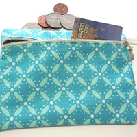 Cosmetic Makeup Bag, Teal and Green Change Purse, Coin Pouch Teal Green and White, Travel Pouch