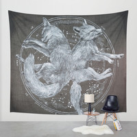 The White Foxes Wall Tapestry by Trisha Thompson Adams