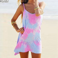 Summer Style Beach Dress Casual Spaghetti Strap Colorful Tie Dye Loose Mini T-shirt
