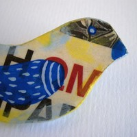 Bird brooch - Paper mache hand painted eco friendly animal brooch
