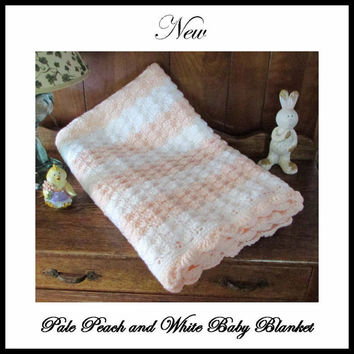 Hand Crocheted Baby Blanket in Pale Peach and White with Scalloped Border Perfect Baby Shower Gift with FREE zippered storage bag