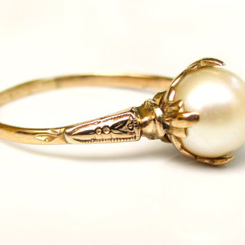 Antique Edwardian Pearl Ring 18/14K Yellow Gold Heart Motif Alternative Engagement Ring June Birthstone Ring Floral Bridal Jewelry Size 7.5!