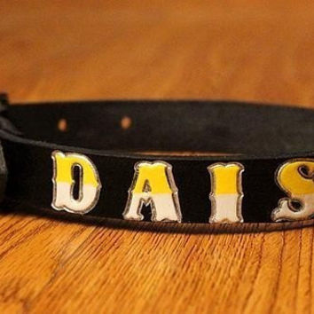Custom Name Leather Small Dog Collar 8 to 14 Inches