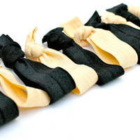 College Colors Fabric Hair Ties (10)  Black and Gold Women's Hair Bands - Emi Jay Inspired Elastic Hair Ties - School Hair Accessories
