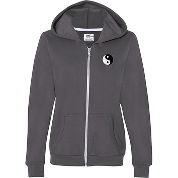 Ladies Yoga Full Zip Hoodie Yin Yang Patch Pocket Print