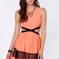 Slice Slice Baby Cutout Coral Dress