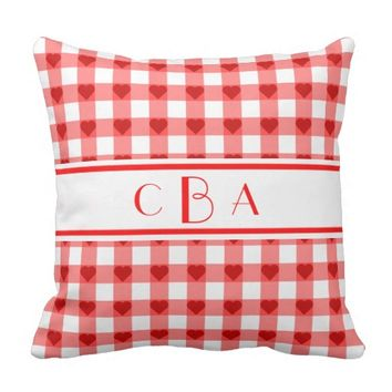 Hearts and Red Gingham Monogrammed Throw Pillow
