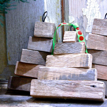 Set of 3 Reclaimed Pallet Wood Christmas Tree Ornaments