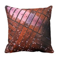 Cool Brown Wooden Ply texture With Wintry Snow Ice Throw Pillow