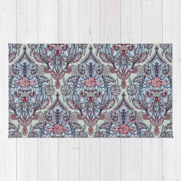 Botanical Moroccan Doodle Pattern in Navy Blue, Red & Grey Area & Throw Rug by micklyn | Society6