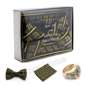 MENS MASONIC FREEMASON LODGE ATTIRE BOW TIE GOLD COMPASS HANKY SET W/ RING G1
